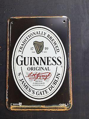 Guinness Black Label  Pub METAL SIGN vtg Home Garage Irish  Bar Decor 20x30 Cm