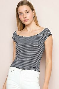 71298072d596a New! brandy melville navy white Striped Cropped off shoulder cotton ...