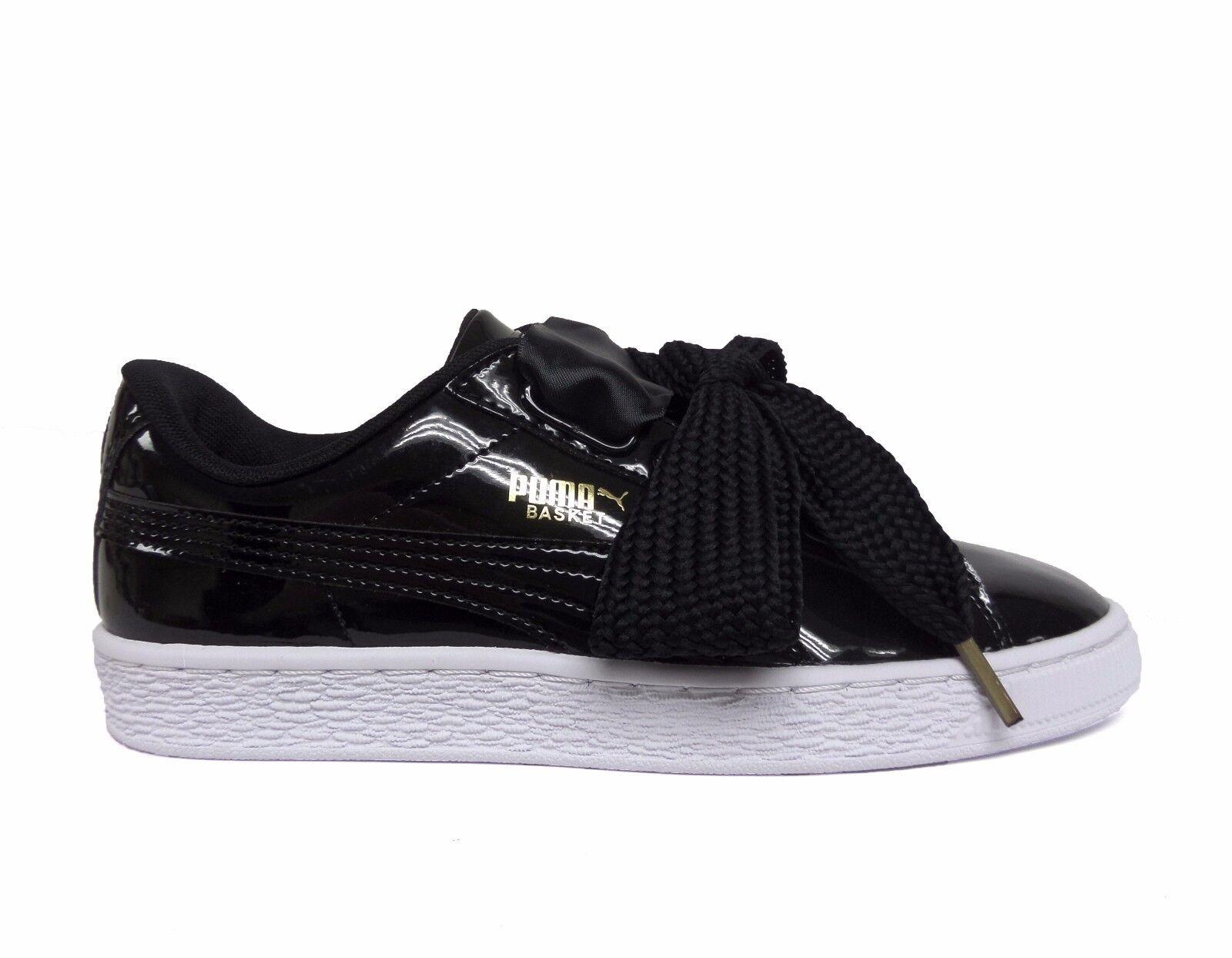 Puma delle donne cestino di cuore delle Puma scarpe di cuoio verniciato nero / bianco, 363073-01 b e650b8