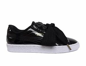 3b882037 Details about PUMA Women's BASKET HEART Patent Leather Shoes Puma  Black/White 363073-01 b