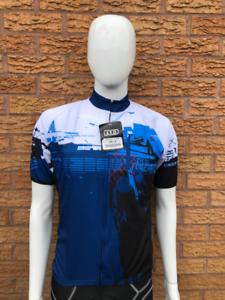 Moozes Homme à Manches Courtes Maillot De Cyclisme Avec Zip Complet Arrière paclets-Bleu