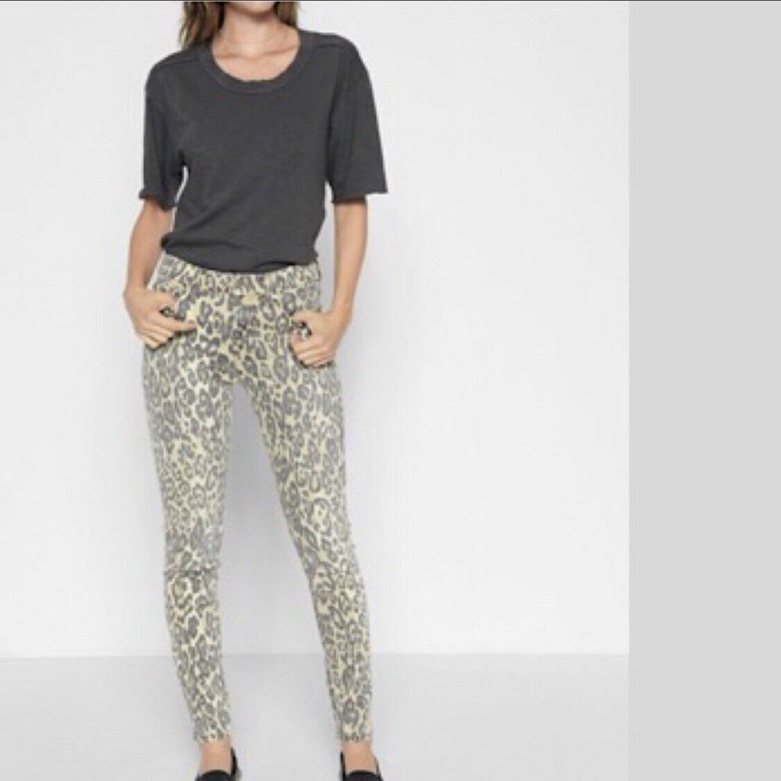 NWT Seven for all Mankind Lux Brand Ankle Skinny Jeans Cheetah Print Sz 32  199
