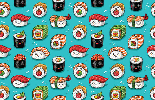 Sushi Sashimi Rolls Pattern Art Cover Black Ballpoint Pen Student Gift #14475