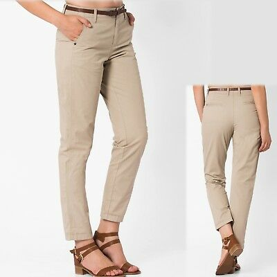 EX M/&S Autograph Khaki Beige Cotton Belted Chino Skirt with Belt Sizes 6 8 10