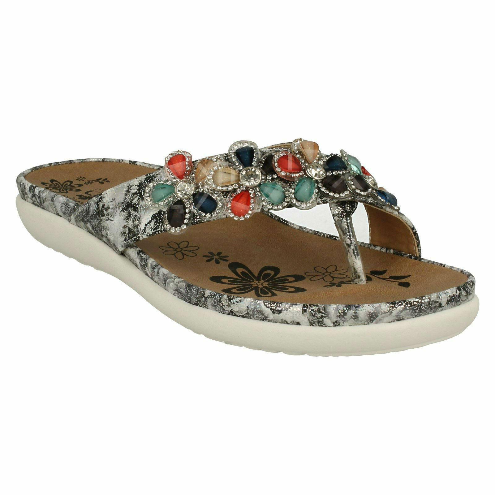 V9591 LADIES RIEKER JEWELLED SUMMER SUMMER SUMMER BEACH CASUAL SLIP ON TOE POST MULE SANDALS ac30bc