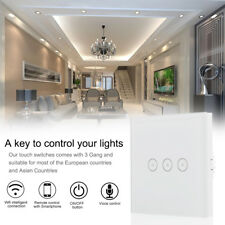 3 gang 1 way wifi smart switch touch panel work with amazon alexa voice control