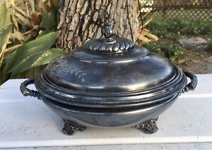 Antique Victorian Superior Silver Co Quadruple Plate Covered Casserole Dish 4 Pc