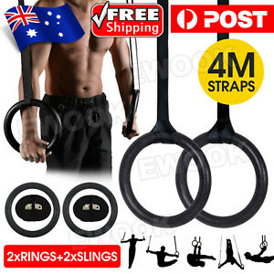 Gymnastic Rings Pair Gym Hoop Crossfit Exercise Fitness Home Ab Workout Dip New