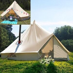 3M-Waterproof-Canvas-Bell-Tent-Glamping-Hunting-Camping-Tent-Yurt-Stove-Jack