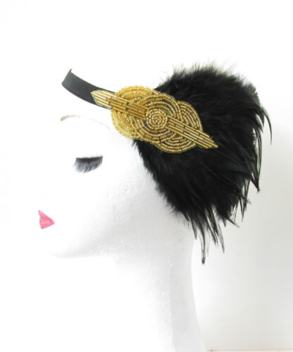 1920s Black and Gold Feather Headpiece Flapper Vintage Headband Great Gatsby Q55