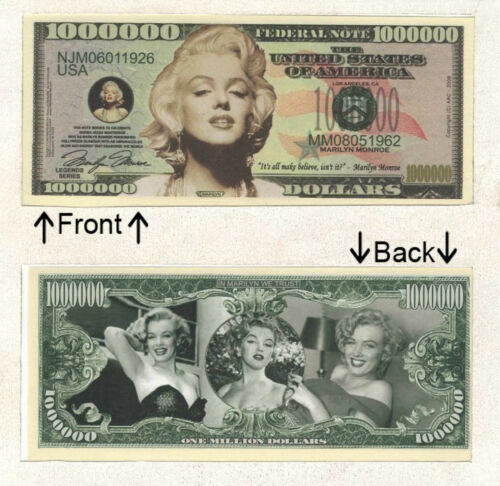 Marilyn Monroe One Million Dollars Novelty Bill Notes 1 5 25 50 100 500 or 1000