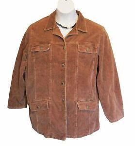 Corduroy Jean Jacket Plus Size 1X 16W 18W BROWN STRETCH Pockets Layer Casual