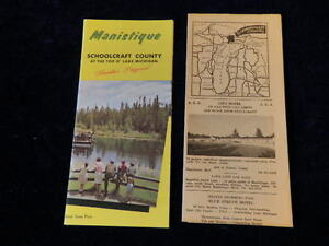 Vintage 1950's Schoolcraft County Manistique Michigan Travel Tourist Lot & Map