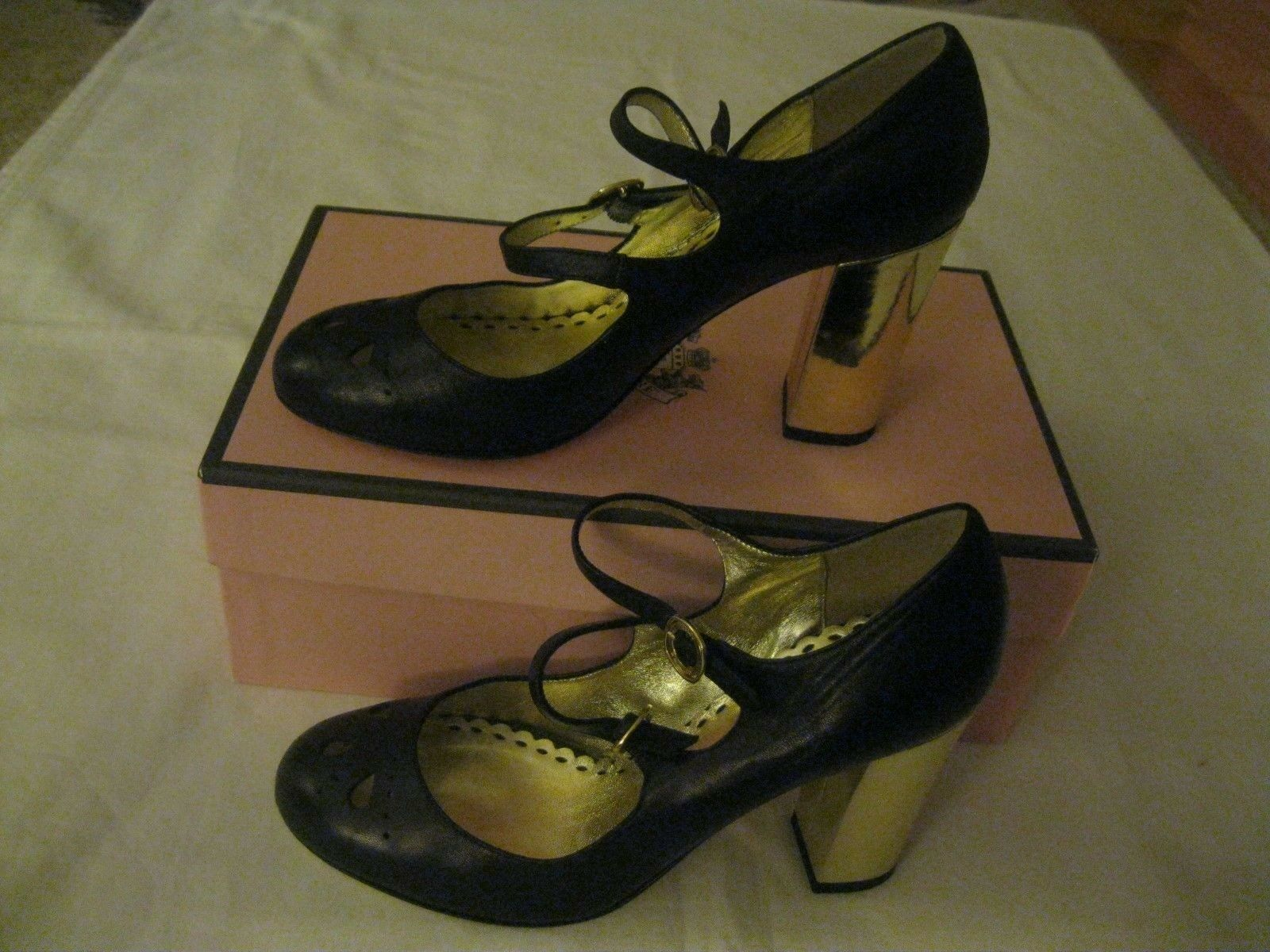 Juicy Couture Women's Black Leather Double Strap gold High Heel shoes Size 7.5