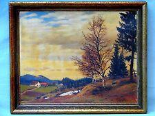 """Gemälde von Anton Filkuka """"Herbst in der Voralpen"""" 20er Jahre Reichsmark Etikett"""