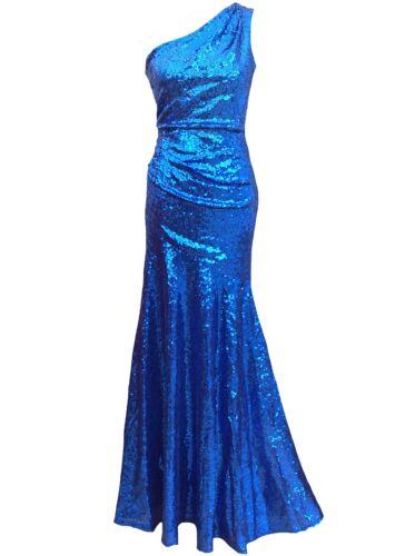 Da Donna Goddiva blu luccicante con paillettes elegante sera Formale Abito Da Ballo 8 10 12 14