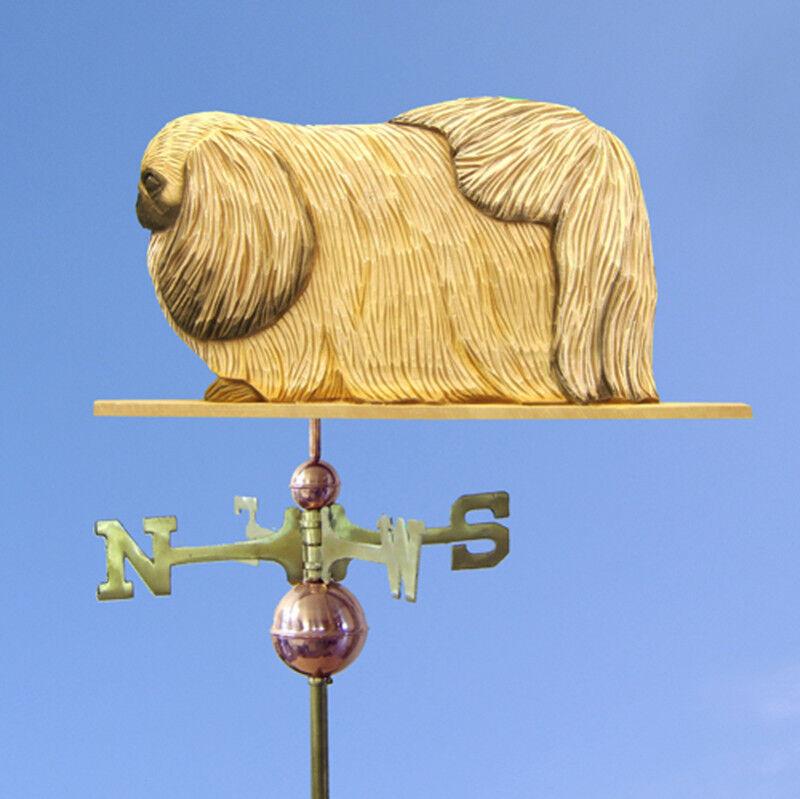 Pekingese Hand Carved Hand Painted Basswood Dog Weathervane Fawn