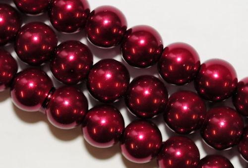 40 GLASWACHSPERLEN 10 MM WEIN ROT AB4-04