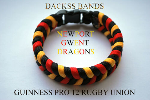 Newport Gwent Dragones Guinness Pro12 Rugby unionteam Hecho A Mano Paracord Pulsera