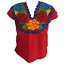 Floral-Mexican-Blouse-Embroidered-Authentic-Handmade-Cotton-Red thumbnail 4