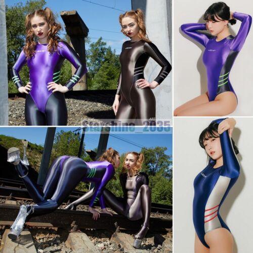 LEOHEX Women/'s Swimwear Wetlook Shiny Bodysuit Leotard Long Sleevees swimsuit AA