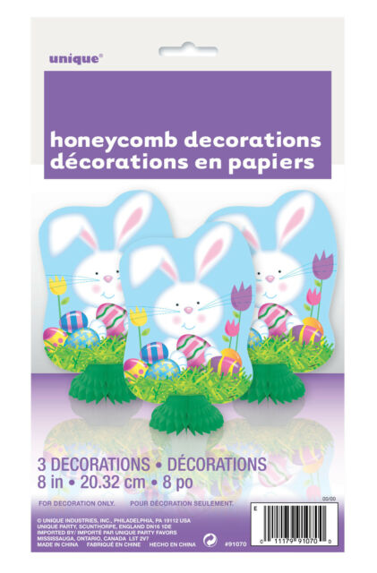 EASTER PARTY SUPPLIES DECORATIONS BUNNY EASTER EGG HONEYCOMB 3 x DECORATIONS