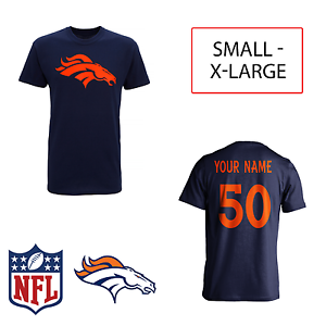PERSONALISED Denver Broncos Adult Kids NFL T-Shirt Name Number AMERICAN FOOTBALL