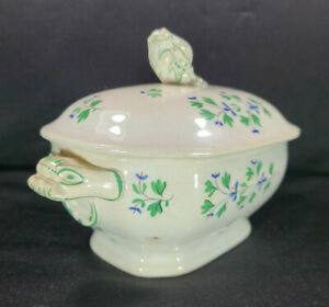 Antique-W-Ridgway-Granite-China-Gravy-Bowl-1840s-Dragon-Handles-Ceramic-Tureen