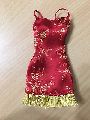 Barbie Doll My Scene Outfit Red Chinese Asian Oriental Floral Fringe Dress Rare