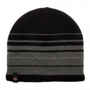 71a4ed528efbb Image is loading Dickies-Black-with-Grey-Stripes-Beanie-Hat-Winter-