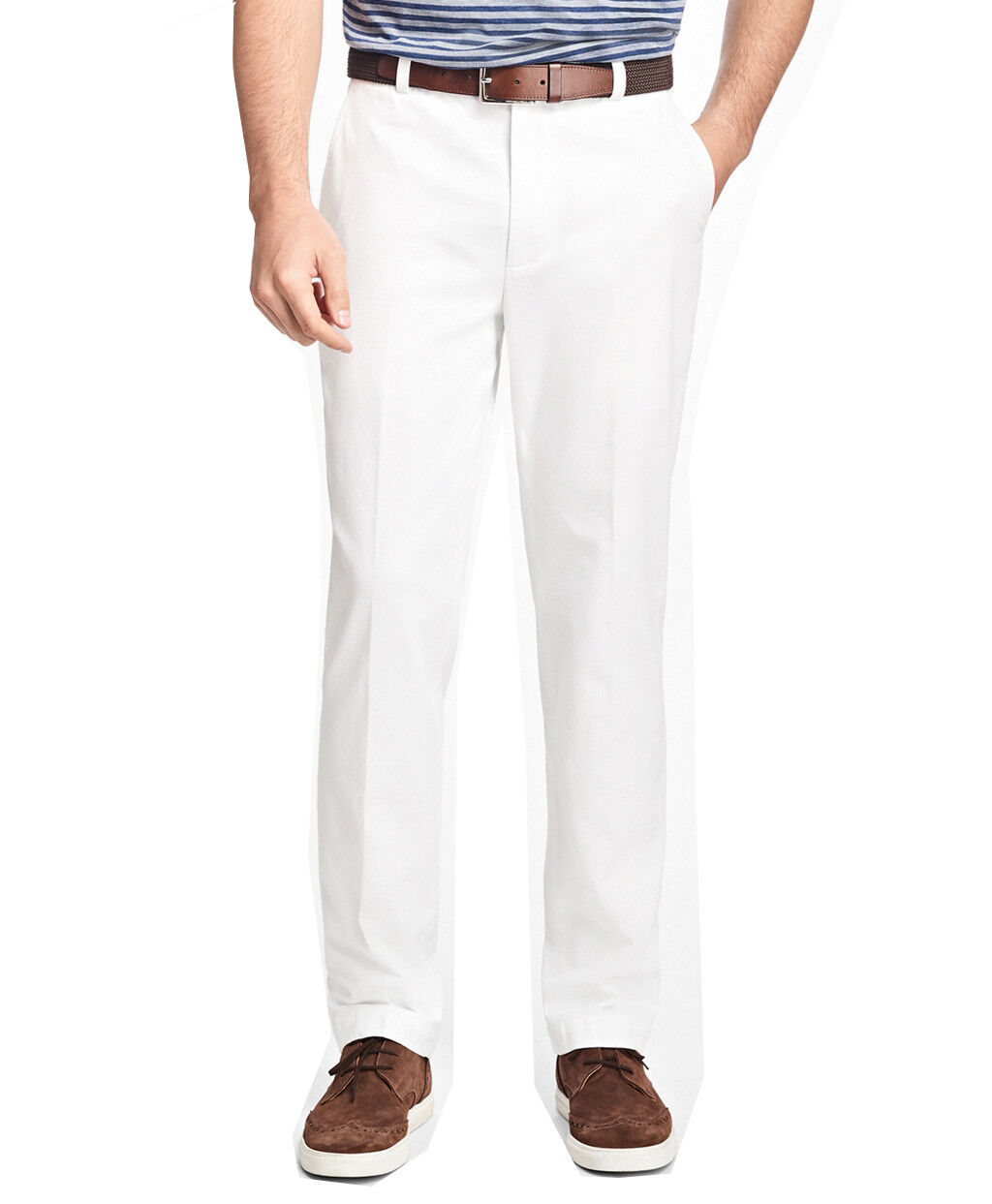 Brooks Bredhers Mens Clark Garment-Dyed Cotton Pant, White (35 32) 5344-2