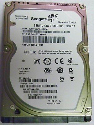 9HV144-500 F//W 0001SDM1 WU 500GB Seagate ST9500420AS P//N