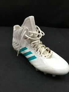 17 RYAN TANNEHILL MIAMI DOLPHINS GAME USED WHITE ADIDAS RIGHT CLEAT ... 4603e3814