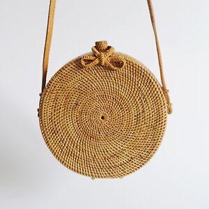 Damen Handgewebte Rattan Tasche Stroh Geldbörse Bali Korb Retro Wicker Crossbody