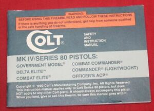 COLT Firearms Factory Delta Elite Manual Original 1990 Rev G