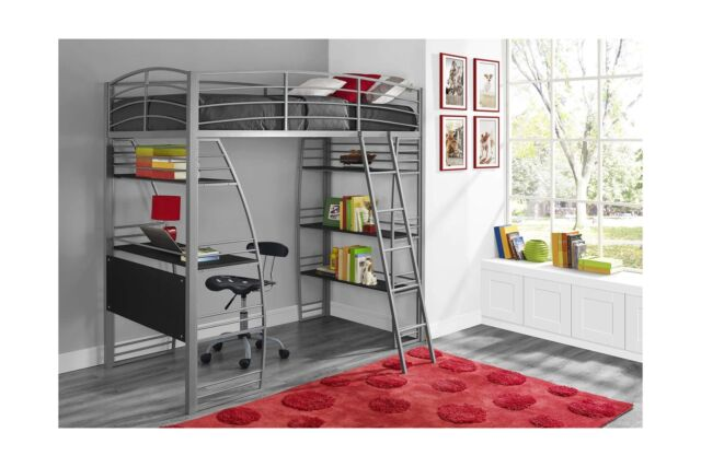 Dhp Studio Loft Bunk Bed Over Desk Twin