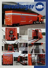 Prospekt Meusburger 2-Achs-Tiefbett-Sattelanhänger mit Schiebeplane 2002 LKWs