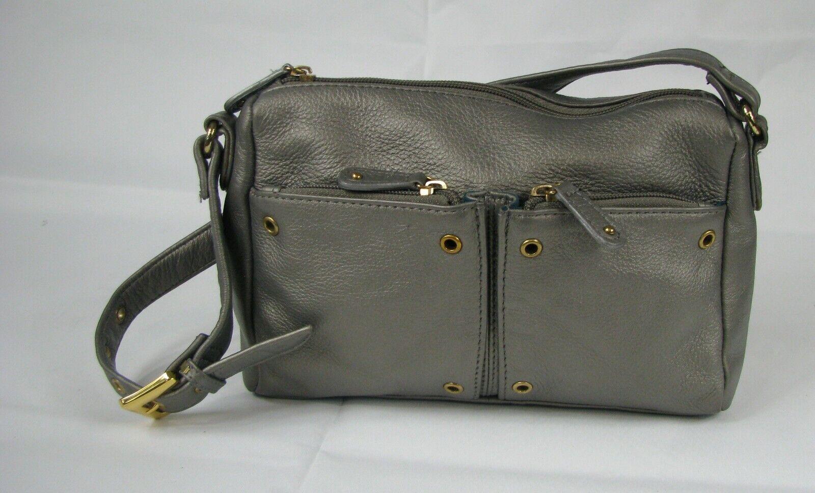 Stone Mountain Silver Gray Leather Small Handbag PURSE Over Shoulder Bag
