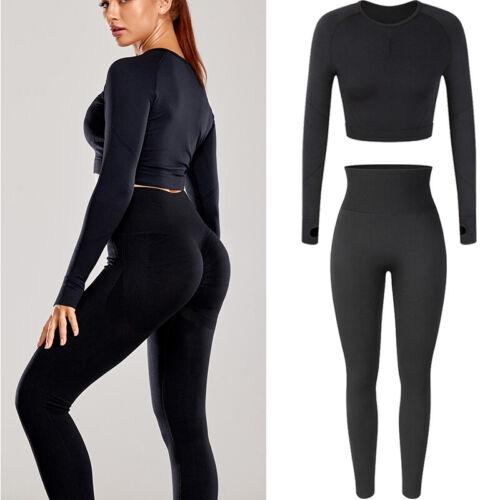 Women/'s Seamless Yoga suit Croped Long Sleeve Top /& Leggings 2 Pcs Set Gym Sport