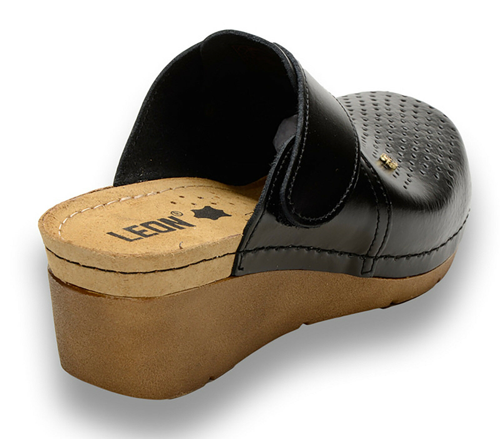 LEON 1001 Ladies Women Leather Slip On Mules Clogs Clogs Clogs Slippers Sandals, Black New ad418f