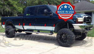 99-10 Ford Super Duty//F-250 Crew Cab Short Bed Rocker Panel Trim Stainless Steel
