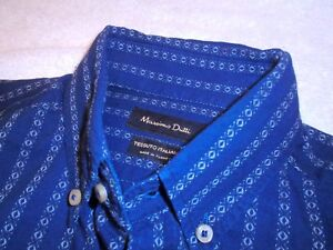 Massimo-Dutti-Navy-Blue-Button-Down-Striped-100-Cotton-Sport-Shirt-NWT-Small