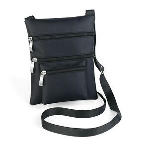 Ladies-Small-Black-Cross-Body-Bag-Zip-Pocket-Shoulder-Messenger-For-Women