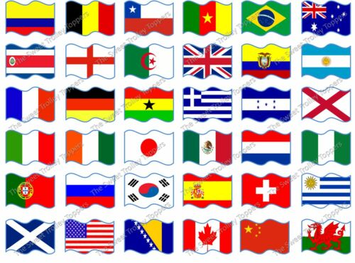 Various Country Flags of the World Edible Rice//Eafer Paper Cupcake Toppers