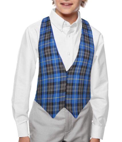 Childs Blue Hunting Tartan Backless Waistcoat Burns Night Christmas Fancy Dress
