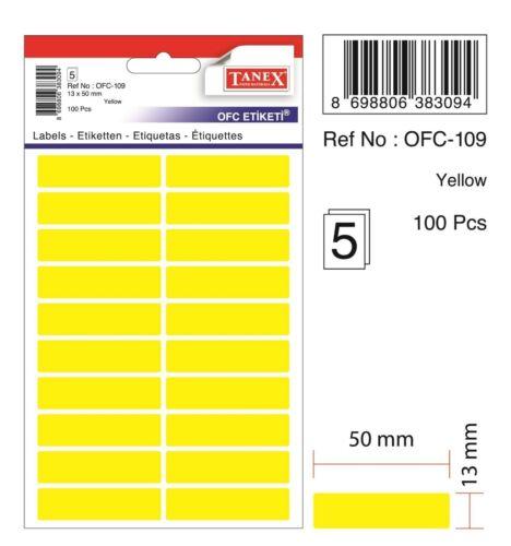 200 Etiketten 13 x 50 mm gelb TANEX OFC-109 Vielzweck Etiketten farbig