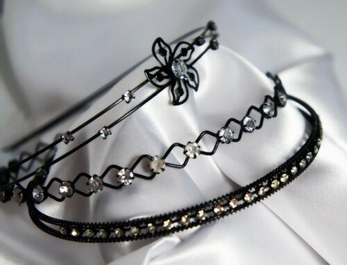 Haarreif Schwarz Strass Metall Haarschmuck Haarreifen Neu Blume Einfach
