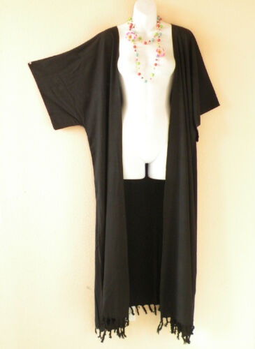 up to 5X Solid Kimono Cardigan Duster Kaftan Trend Coat Maxi Jacket Cover up