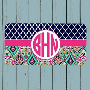 Personalized-Monogram-License-Plate-Car-Tag-Personalized-Lilly-Pulitzer-Inspired