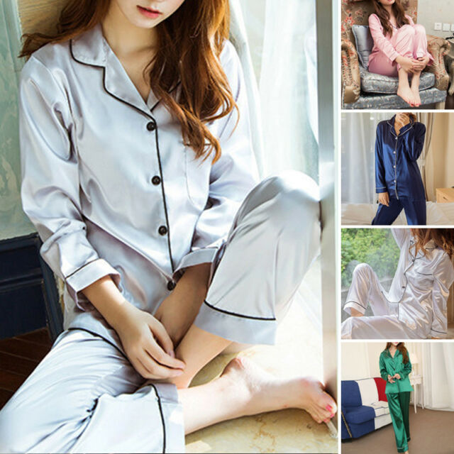 WOMEN/LADY Silk Satin Pajama Sets Long Sleeve Sleepwear Homewear Nightwear Robe@
